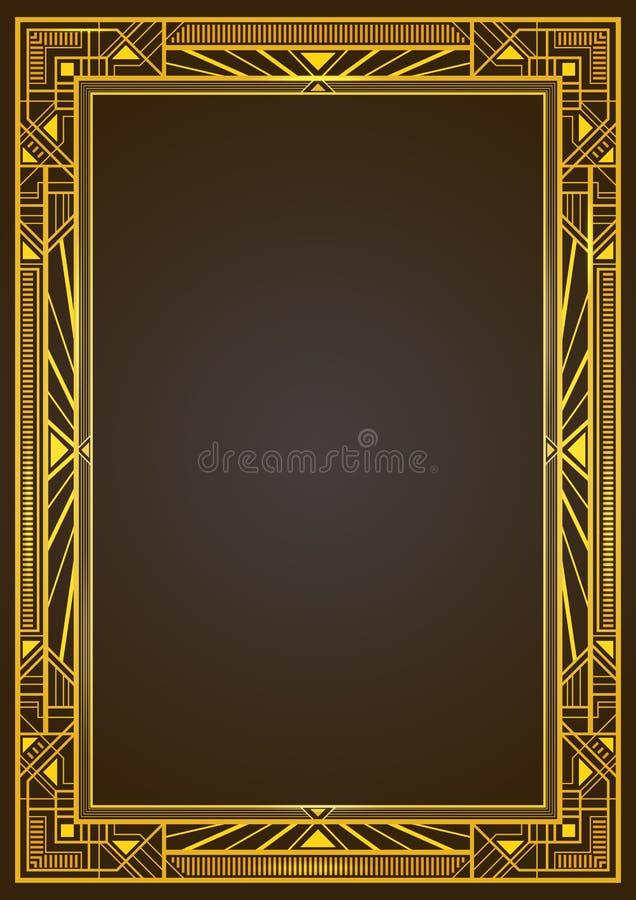 Guld- metallisk rektangulär retro ram royaltyfri illustrationer