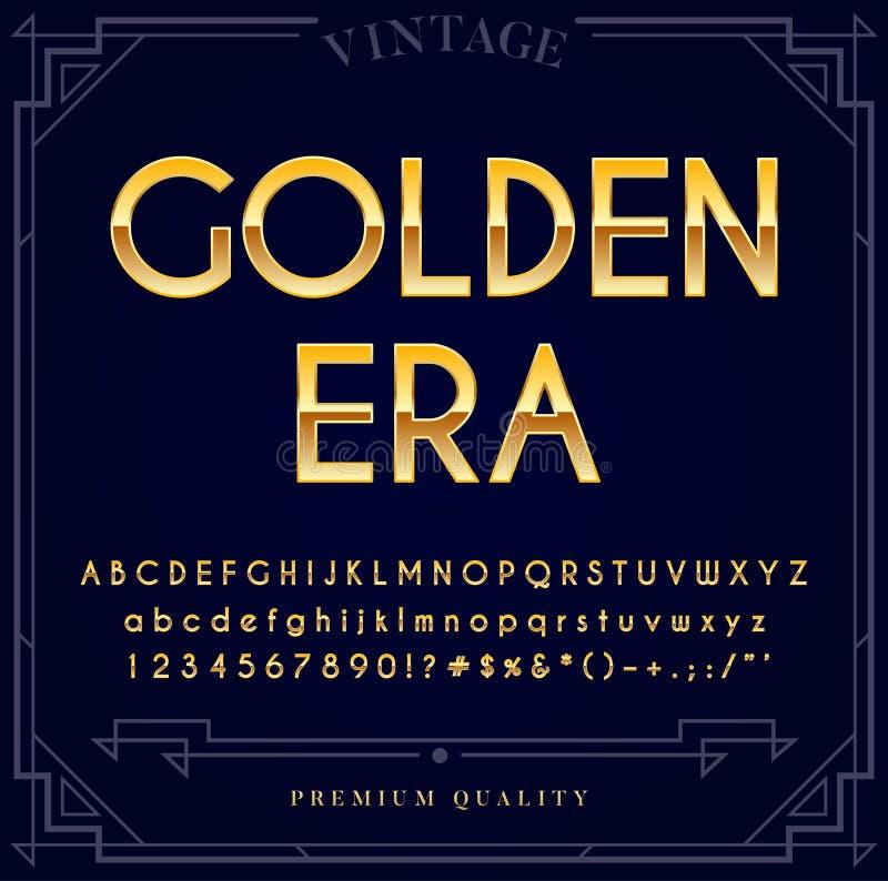 Guld- metallisk stilsortsuppsättning Bokstäver, nummer och speciala tecken stock illustrationer