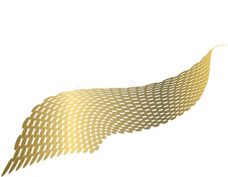 guld- metallisk wave royaltyfri illustrationer