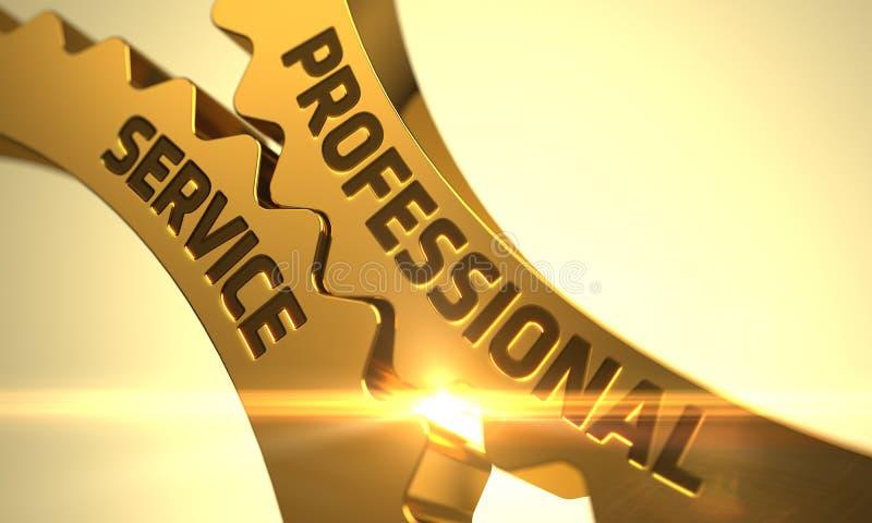 Guld- metalliska kugghjul med begrepp för yrkesmässig service 3d royaltyfri illustrationer