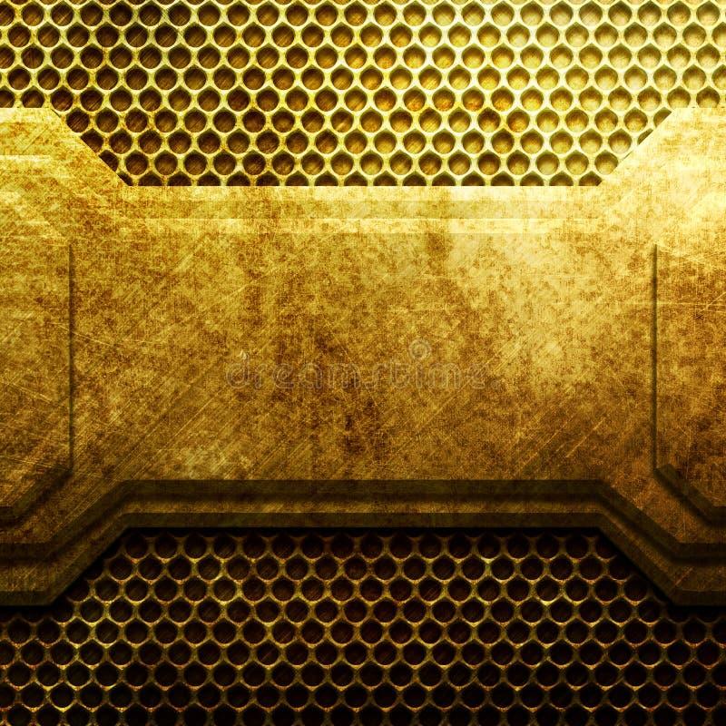 Guld- metallplatta på raster industriellt arkivfoton