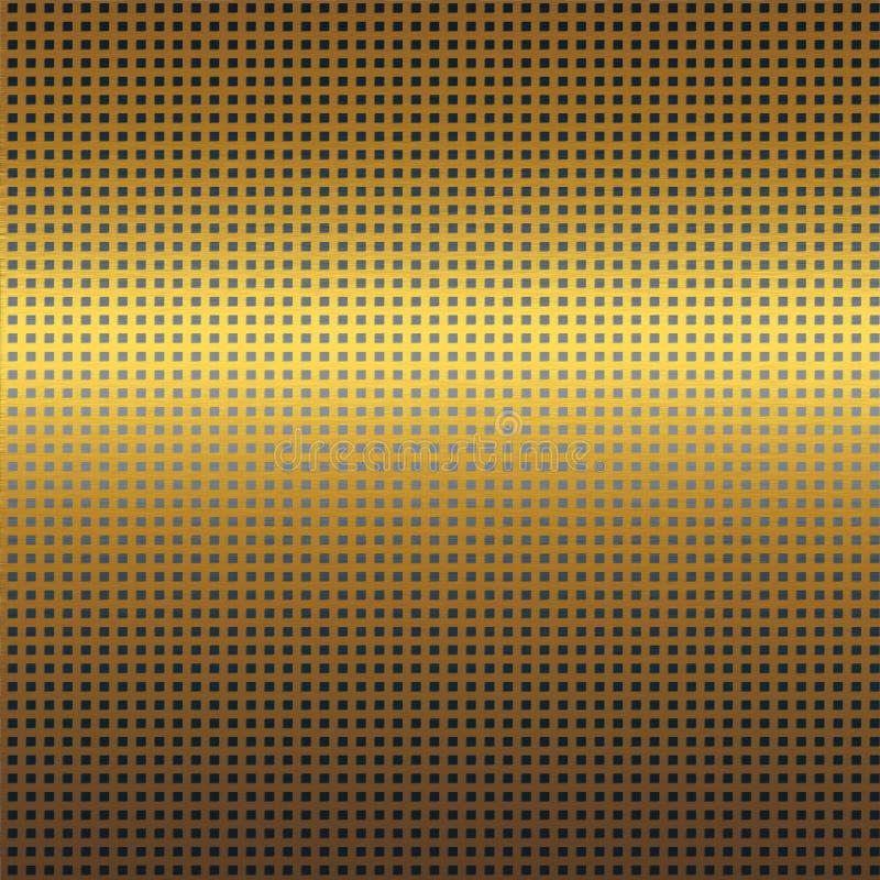 Guld- metalltexturbakgrund med den sömlösa modellen för svart raster royaltyfri illustrationer