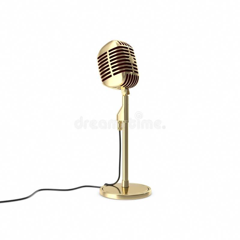 Guld- mikrofon för tappning på golv illustration 3d arkivfoto