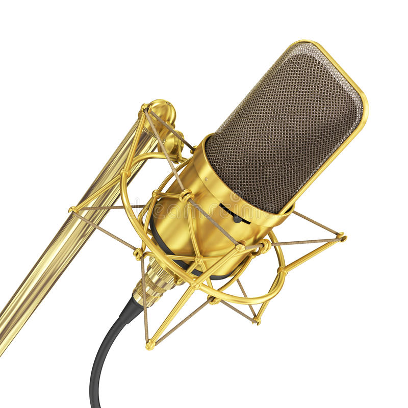 Guld- mikrofon som isoleras på den vita bakgrunden arkivfoto