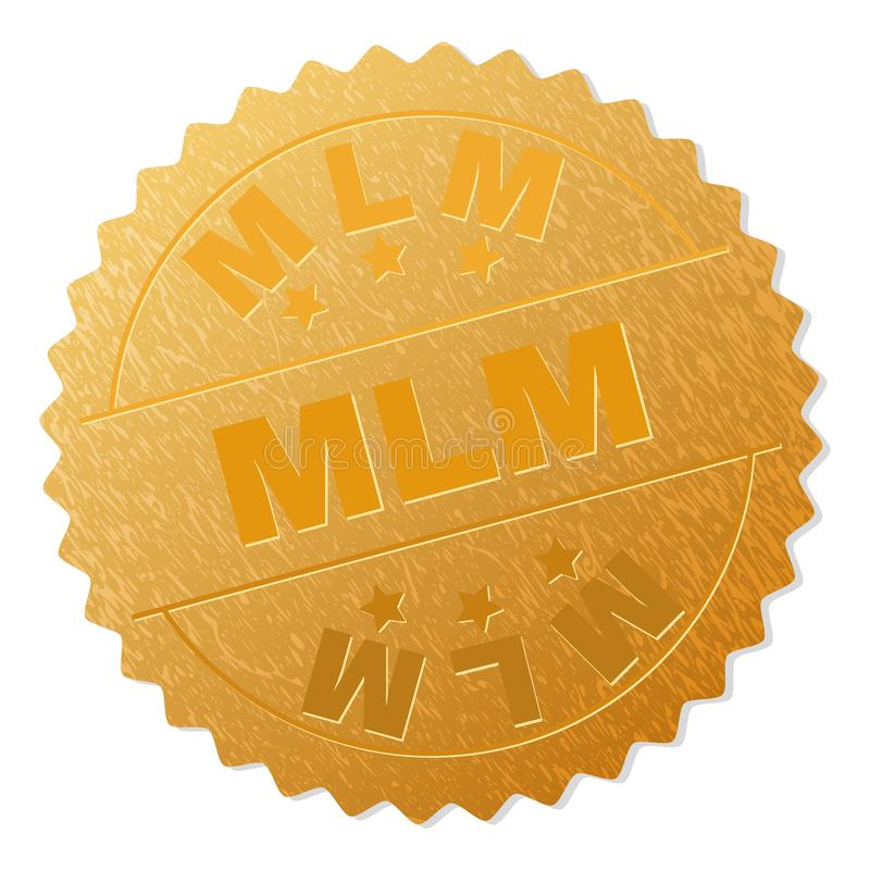 Guld- MLM-medaljongstämpel royaltyfri illustrationer