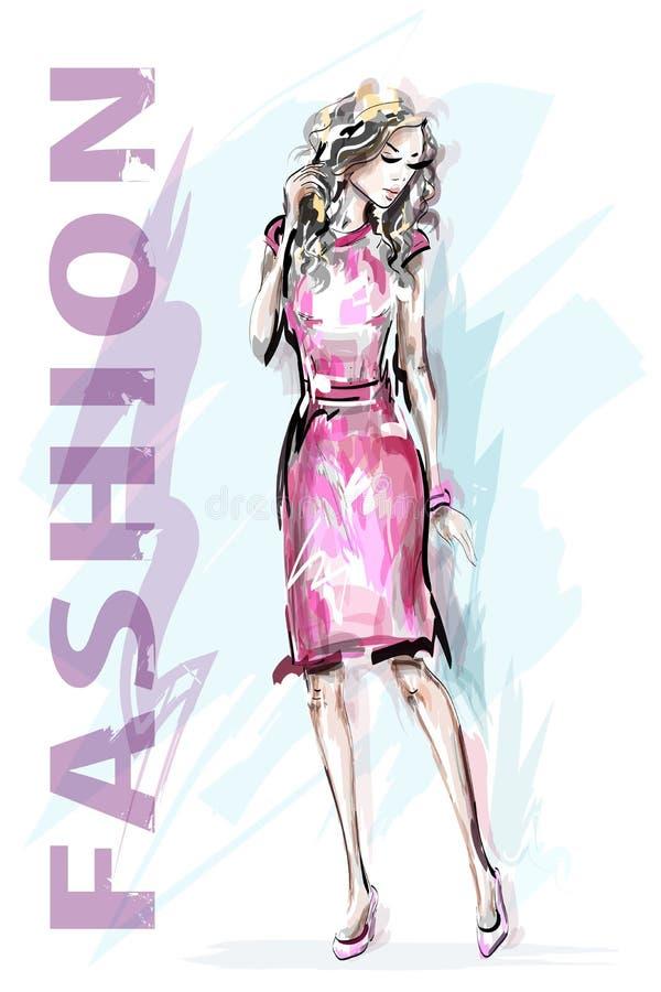 guld- modell för klänningmode Hand dragen härlig modekvinna stilfull flicka skissa royaltyfri illustrationer