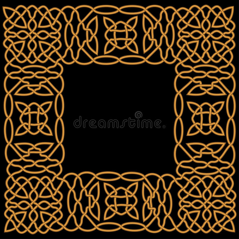 Guld- modell i en ram i araben eller den keltiska stilen royaltyfri illustrationer