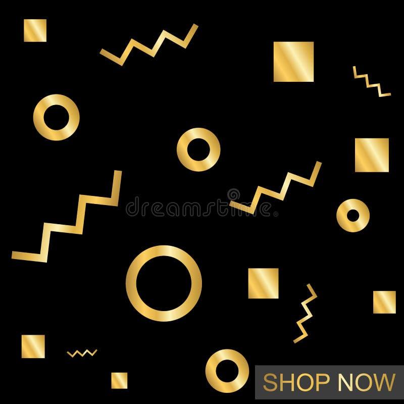 Guld- moderiktiga geometriska beståndsdelar för design stock illustrationer