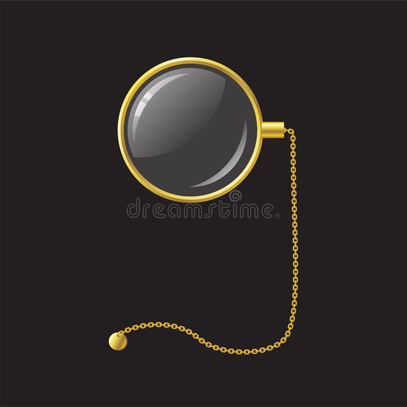 Guld- monokel med kedjan - realistisk isolerad objektillustration för modern vektor royaltyfri illustrationer