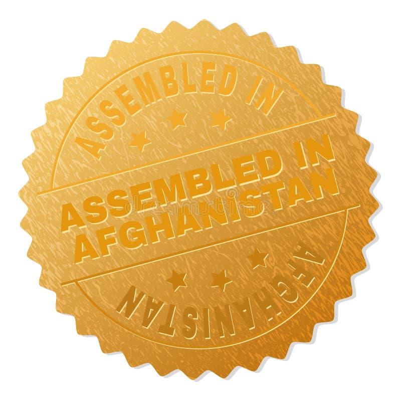 Guld- MONTERAT I AFGHANISTAN emblemstämpel stock illustrationer
