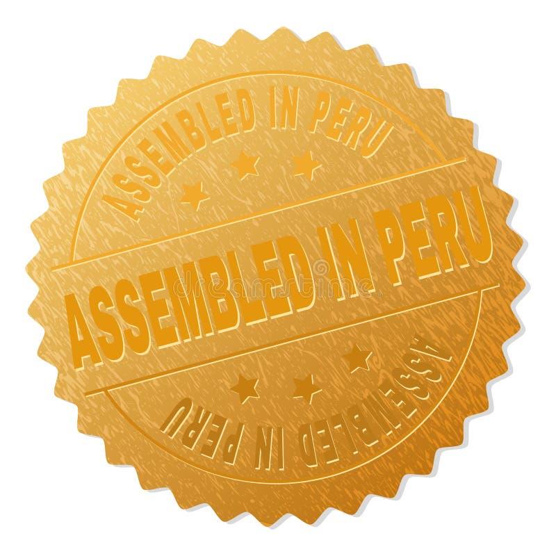 Guld- MONTERAT I PERU Award Stamp royaltyfri illustrationer