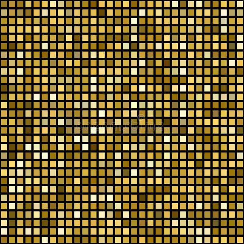 Guld- mosaikbakgrund för vektor royaltyfri illustrationer