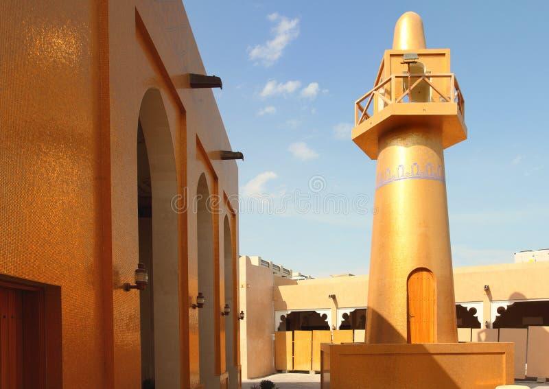 guld- moské qatar arkivfoto