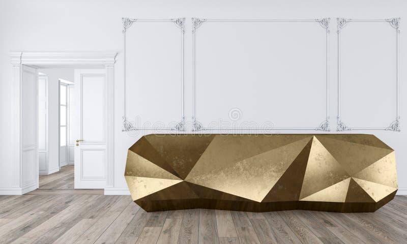 Guld- mottagandetabell i klassisk vit färginre med stöpningar och trägolvet stock illustrationer