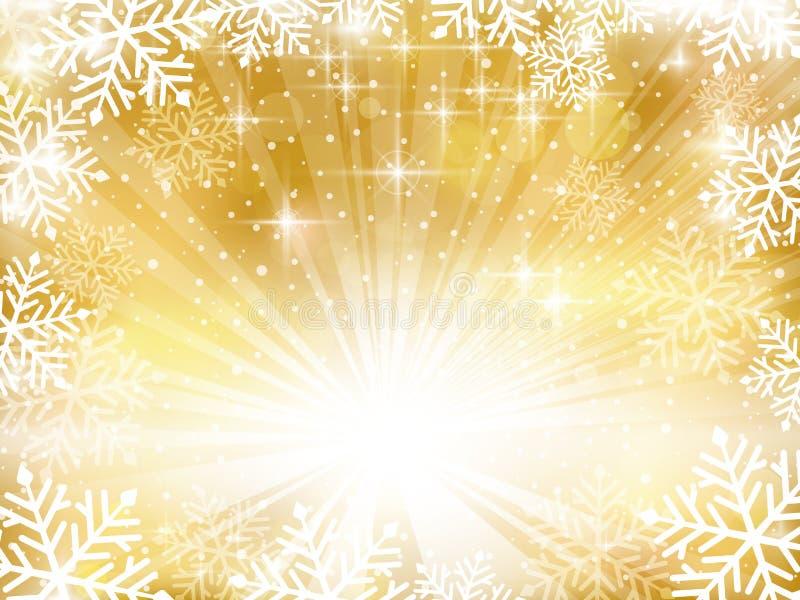 Guld- mousserande julbakgrund med snöflingor arkivfoton