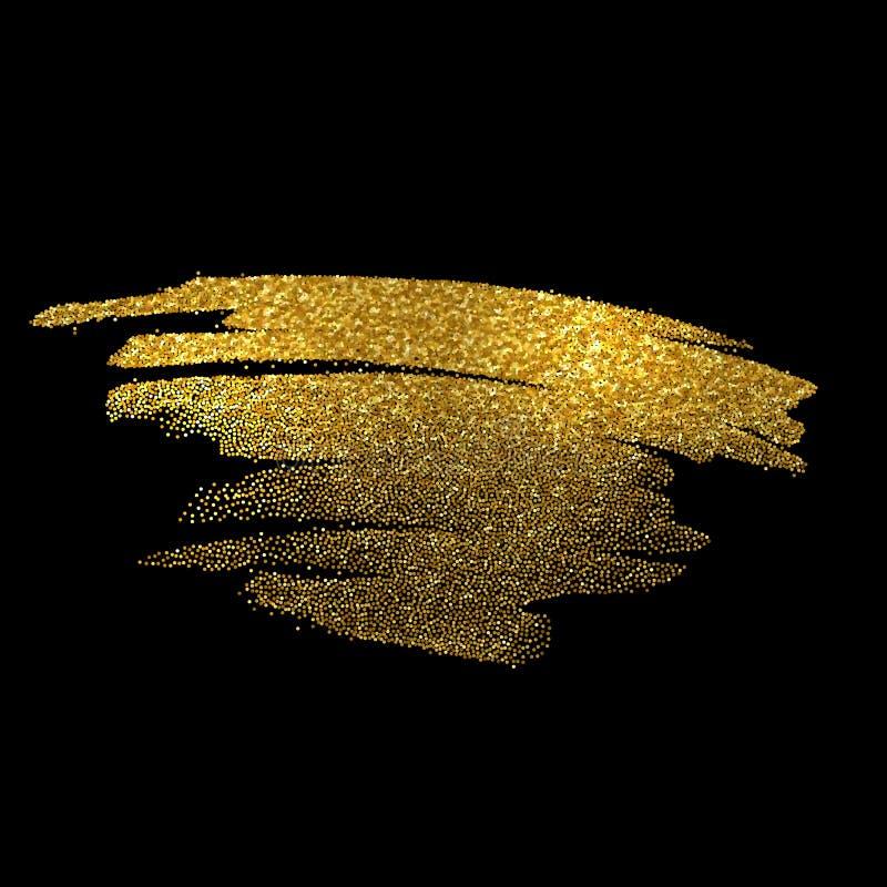 Guld mousserar på svart bakgrund blänka guld- stock illustrationer