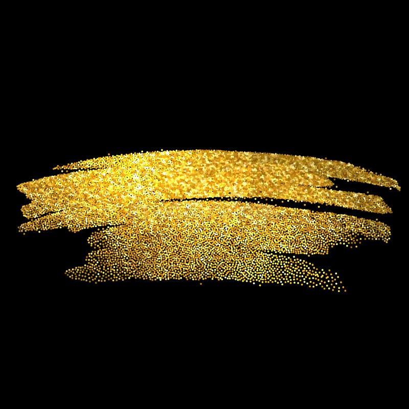 Guld mousserar på svart bakgrund blänka guld- vektor illustrationer