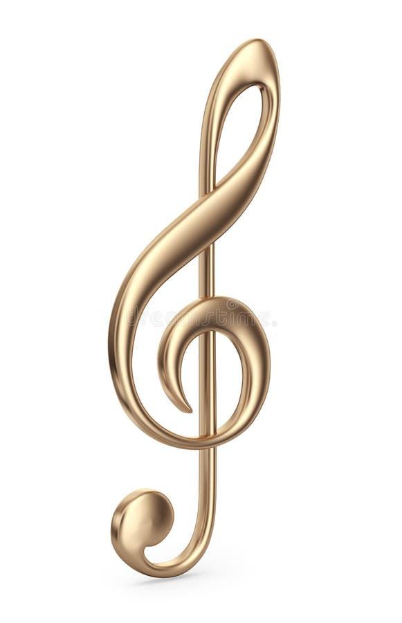 Guld- musikanmärkning. symbol 3D  vektor illustrationer