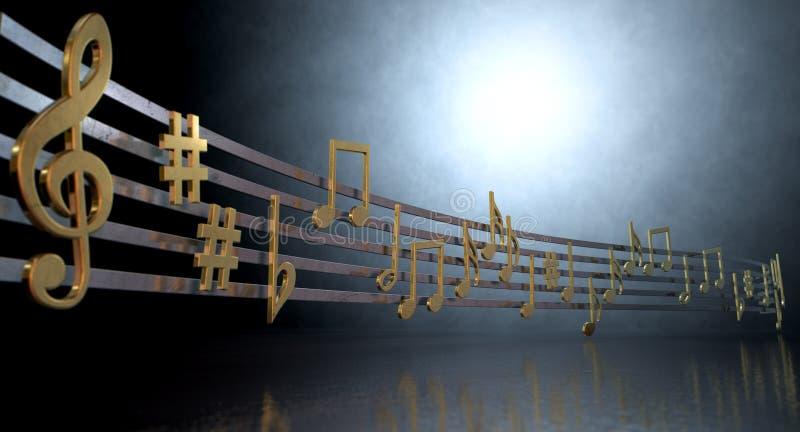 Guld- musikanmärkningar på krabba linjer royaltyfri illustrationer