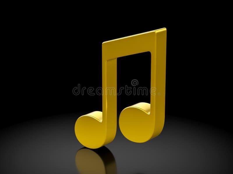 Guld- musikanmärkningssymbol stock illustrationer