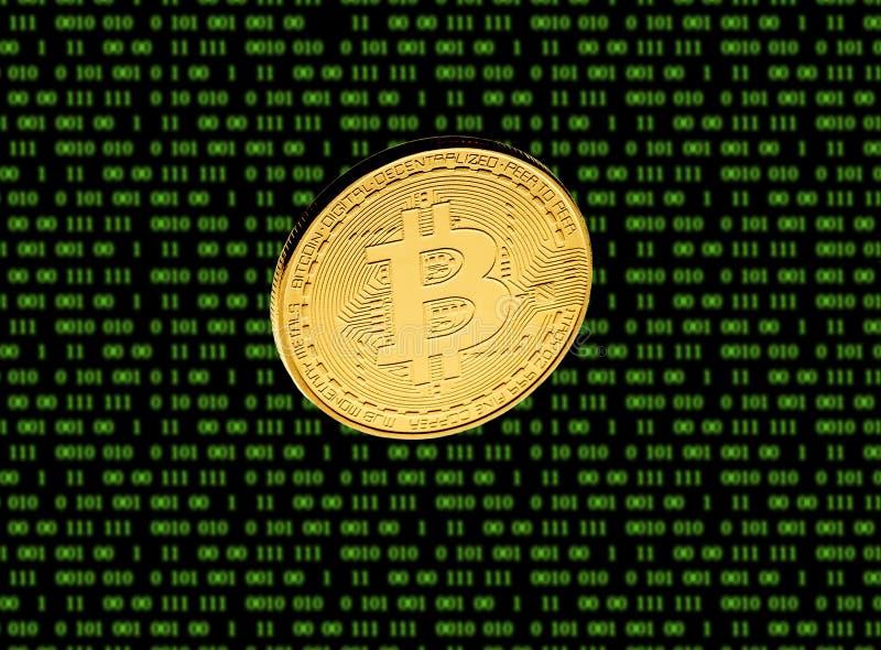 Guld- mynt av den Bitcoin closeupen på bakgrunden av matrisen royaltyfria foton