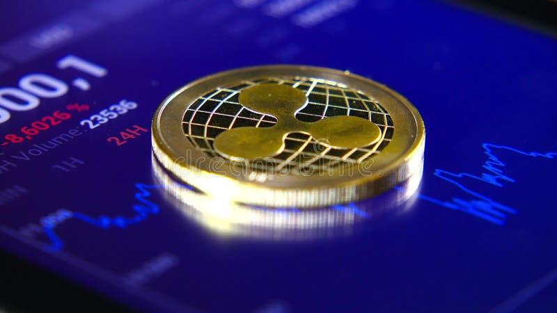 Guld- mynt av krusningen på bakgrunden av ett grafiskt materiel kartlägger Koncentrationen av Crypto-valutan av faktiskt arkivbild