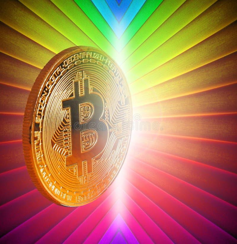 Guld- mynt Bitcoin för digital cryptocurrency arkivbilder