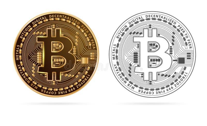 Guld- mynt Bitcoin för digital valuta vektor illustrationer