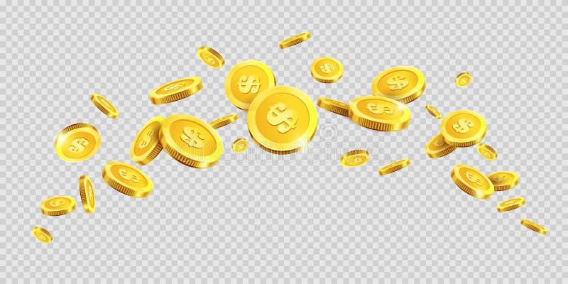 Guld- mynt eller guld- pengarmyntfärgstänk stänker på genomskinlig bakgrund för vektorn vektor illustrationer