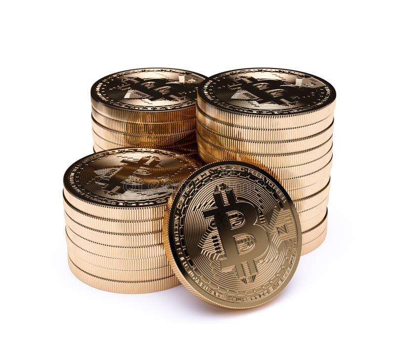 Guld- mynt för Bitcoin bunt vektor illustrationer