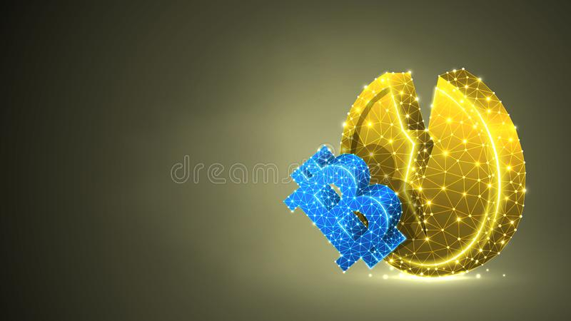 Guld- mynt för bruten Litecoin cryptocurrency Polygonal affär, pengar, marknadskrasch, cirkelbegrepp Abstrakt digitalt, wireframe vektor illustrationer