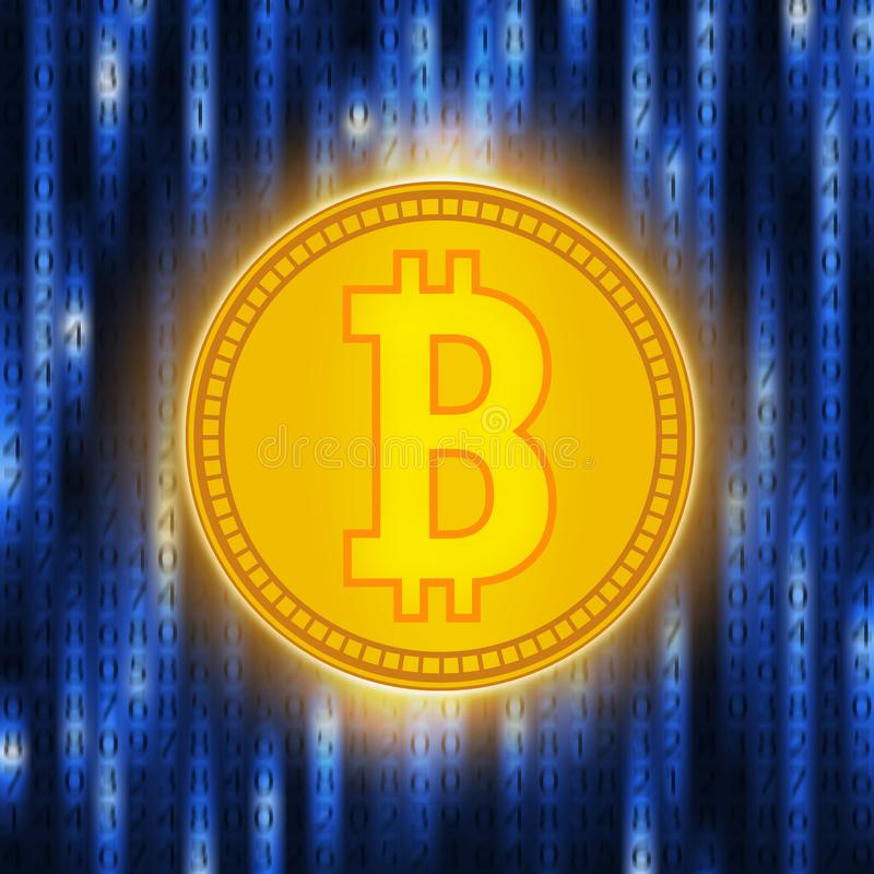 Guld- mynt för Crypto valuta Abstrakta faktiska pengar på blå bakgrund Digital matris av att dra av pengar stock illustrationer