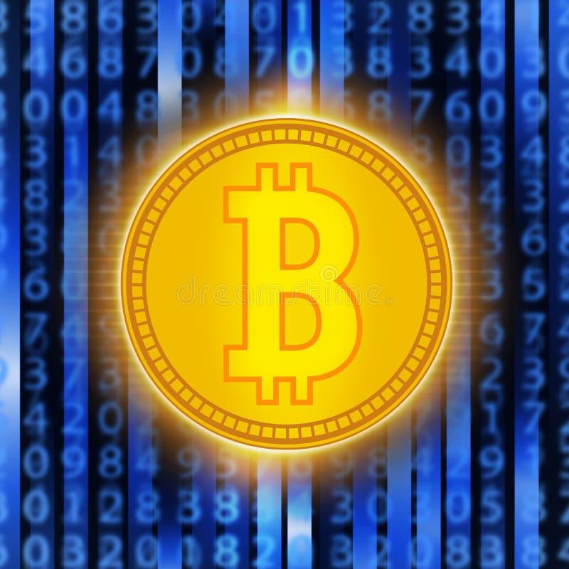 Guld- mynt för Crypto valuta Abstrakta faktiska pengar på blå bakgrund Digital matris av att dra av pengar royaltyfri illustrationer