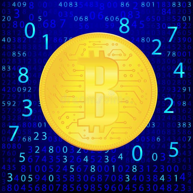 Guld- mynt för Crypto valuta Abstrakta faktiska pengar på blå bakgrund Digital matris av att dra av pengar 10 eps vektor illustrationer