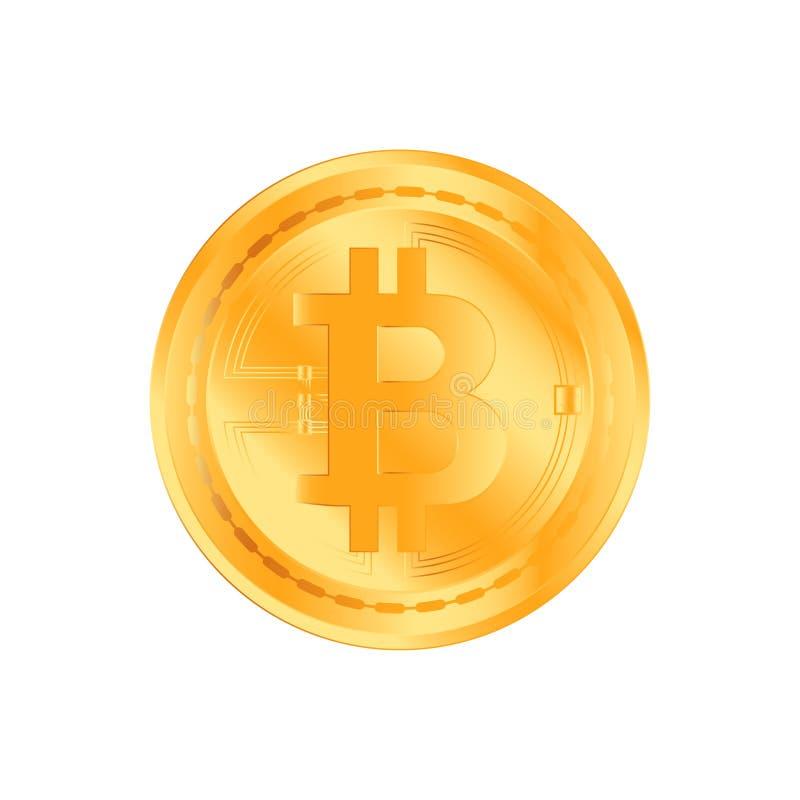 Guld- mynt för Crypto valuta på vit bakgrund Bitcoin symbol av elektroniska pengar Plan illustration Eps 10 royaltyfri illustrationer