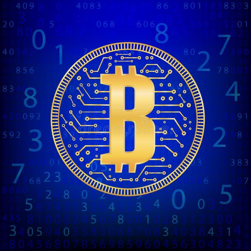 Guld- mynt för Crypto valutaabstraktion Abstrakta faktiska pengar på blå bakgrund Digital matris av att dra av pengar royaltyfri illustrationer