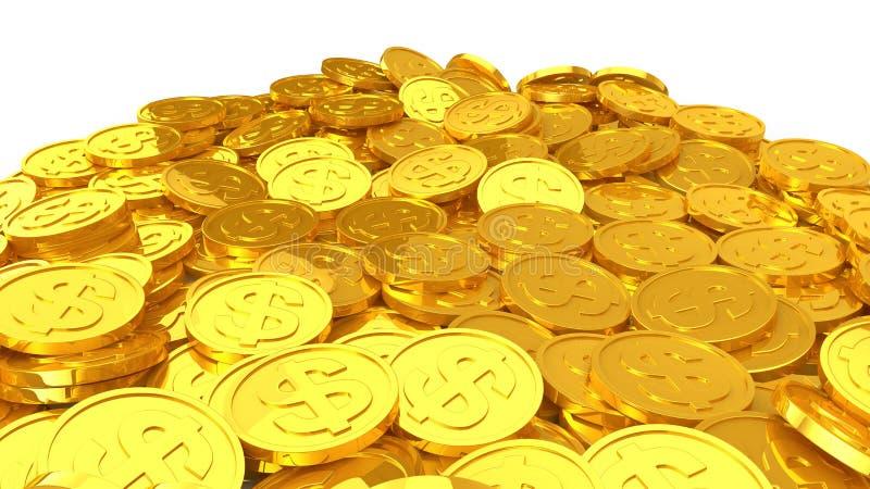 Guld- mynt för dollar stock illustrationer