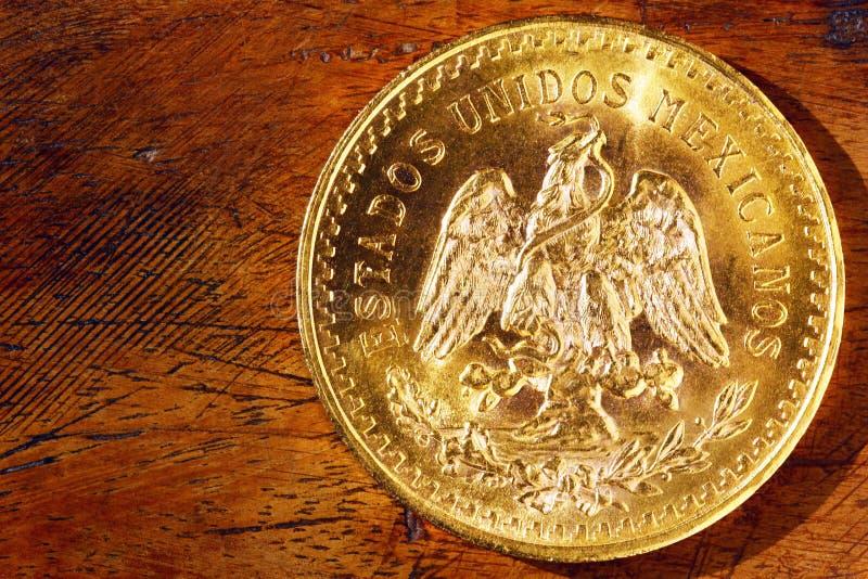 Guld- mynt för investering av Mexico arkivfoto