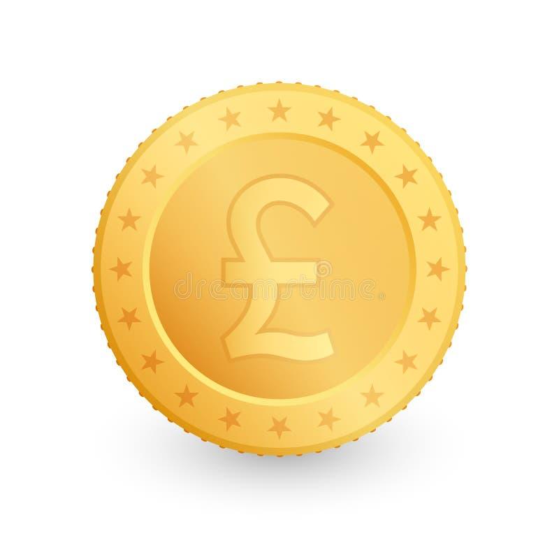 Guld- mynt för pund som isoleras på vit bakgrund ocks? vektor f?r coreldrawillustration vektor illustrationer