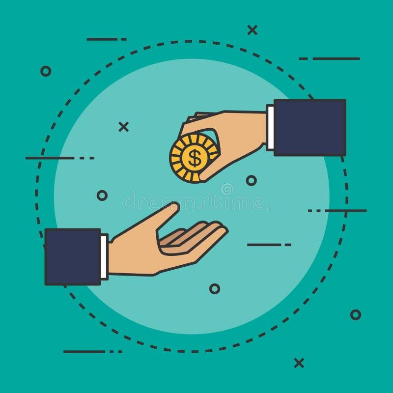 Guld- mynt i isometrisk design för handaffärsman Begreppet av välgörenhet, donerar blå vektor för sky för oklarhetsbildregnbåge royaltyfri illustrationer