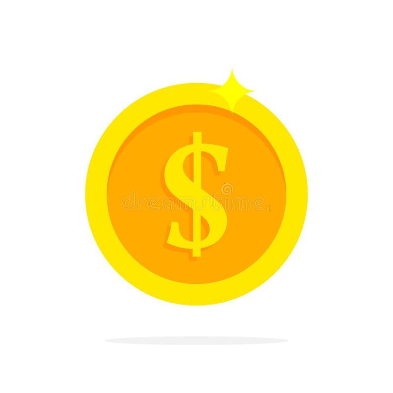 Guld- mynt i plan stil också vektor för coreldrawillustration royaltyfri illustrationer