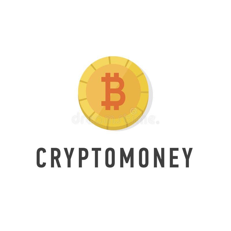 Guld- mynt med bitcointeckenlägenheten Rengöringsdukpengarsymbol Isolerad Cryptomoney logo Kryptografivalutasymbol stock illustrationer