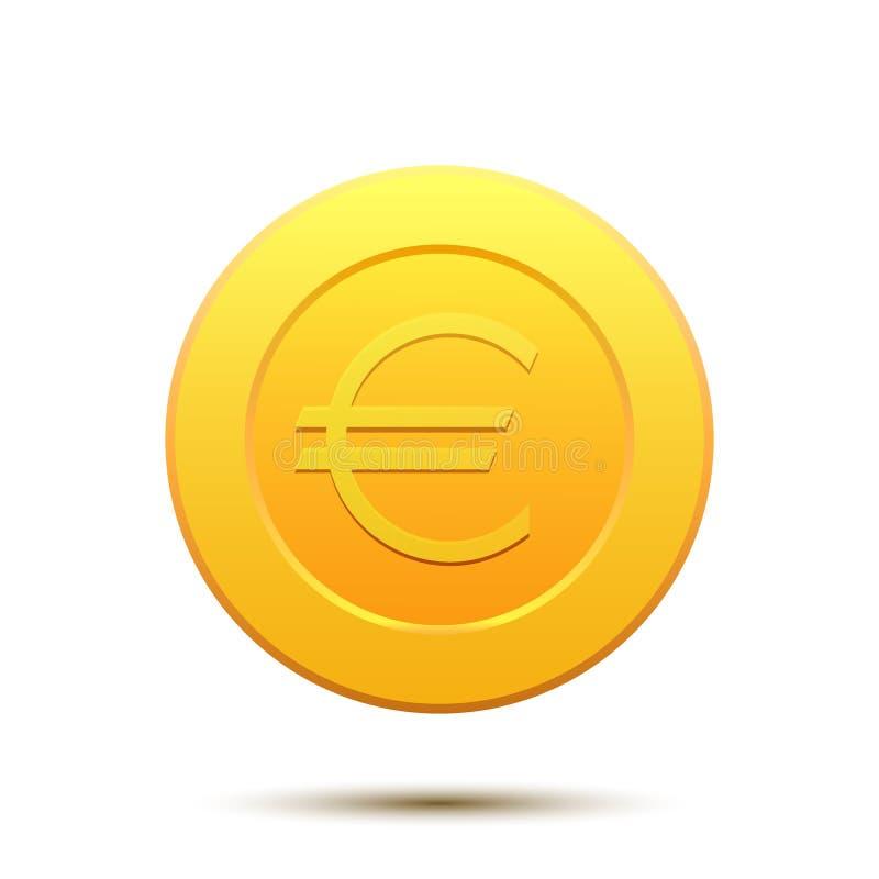 Guld- mynt med eurosymbol royaltyfri illustrationer