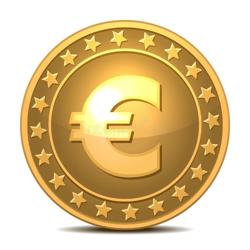 Guld- mynt med eurotecknet. stock illustrationer