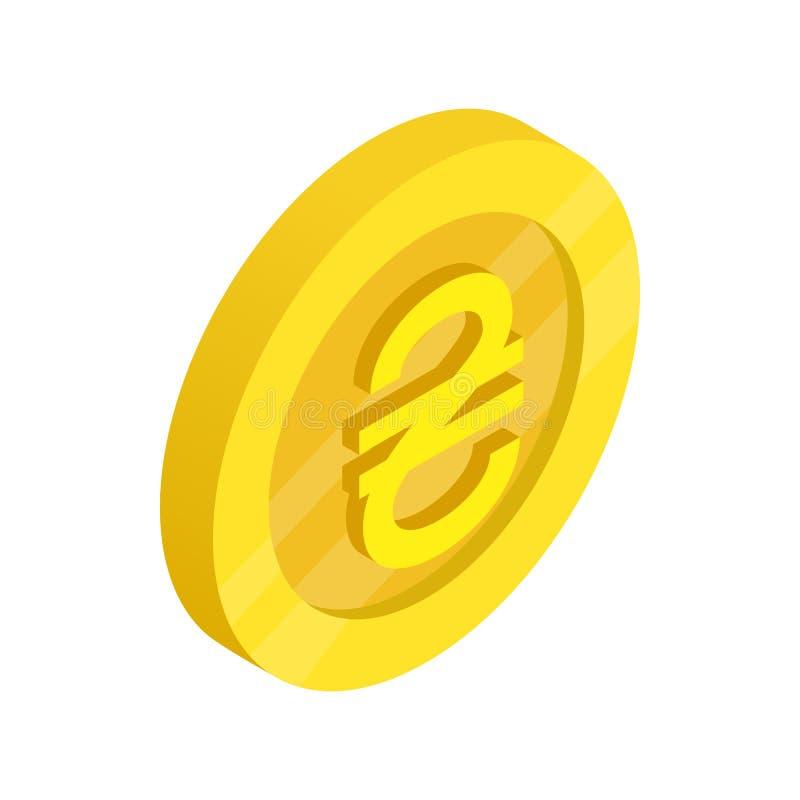 Guld- mynt med hryvniateckensymbolen stock illustrationer