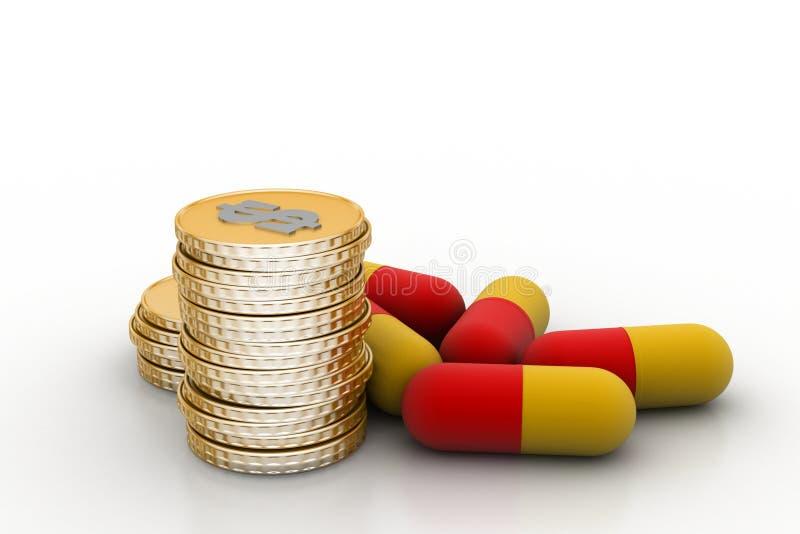 Guld- mynt med medicin royaltyfri illustrationer