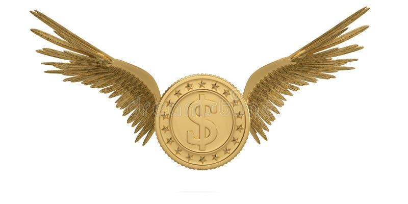 Guld- mynt med guld- vingar som flyger myntet som isoleras på den vita backgrouen stock illustrationer