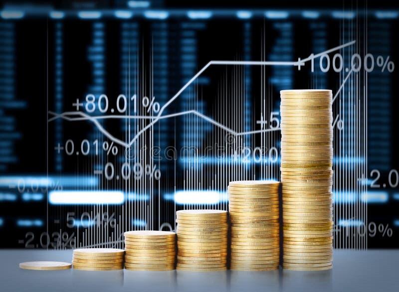 Guld- mynt och graph dem stock illustrationer