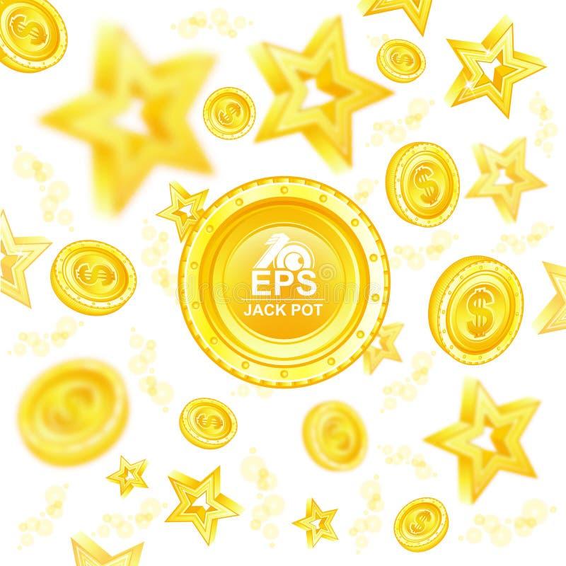 Guld- mynt och stjärnor med djup av fälteffekt som flyger runt om stort mynt i mitt royaltyfri illustrationer