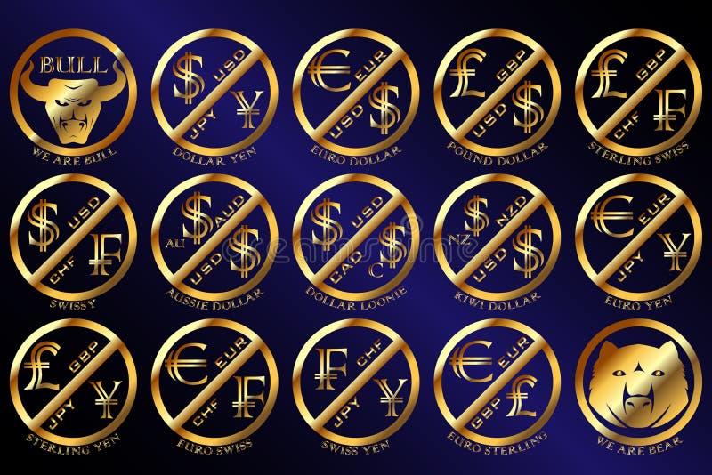 Guld- mynt och symbol för Forexvalutapar royaltyfri bild